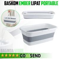 Baskom Ember Lipat Bak Persegi Bucket Foldable Bahan Kuat 10 liter