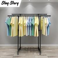 Rak Gantungan Baju Berdiri Besi Standing Stand Hanger Double 4 Roda