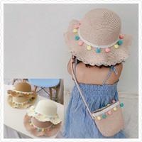 Topi Pantai Anak + Tas Jerami Rajut Korea Import 1 Set / Straw Hat