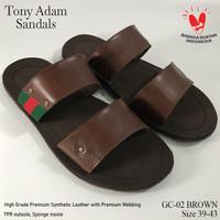 Tony Adam Sandal Premium Casual Pria 2Ban Gc-02 / Sandal Kulit - Hitam, 39