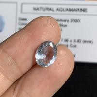 Batu Aquamarine Beryl 1.44ct 8.94mm natural pertmata + Memo oval cut
