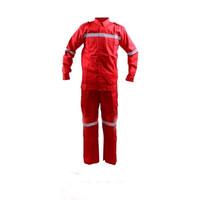 Kemeja Safety Okinawa Merah / Seragam Kerja / Baju Celana Kerja - M