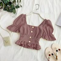Anita Blouse / Baju Crop / Baju Korea / Atasan Wanita/Fashion wanita - Merah Muda