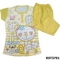 Baju Tidur Murah Setelan Kaos Size M Nyaman Dipakai - Kuning
