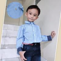 Kemeja Anak Laki Lengan Panjang 4 5 6 7 8 9 10 11 12 Tahun Baju Remaja - 2-3 tahun, Kotak Biru