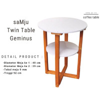 saMju Twin Table Geminus | Coffe Table | Meja Kopi 2 Susun Bulat