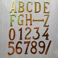 Nomer / Angka / Huruf Plat Rumah Kantor Apartemen Kuningan / Brass