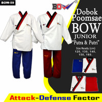 Dobok baju taekwondo poomsae pomsae junior BOW Anak pemula merah biru