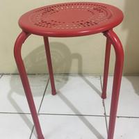 Kursi bangku cafe bulat minimallis full besi warna merah