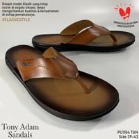 Tony Adam Sandal Pria Kulit Asli Premium / Sendal Jepit Casual Pria - Cokelat, 39