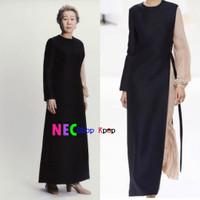 Youn Yuh-jung black asymmetric dress