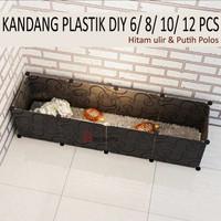 KANDANG PLASTIK DIY 6 - 8 PANEL - 6 Panel Plastik, Hitam