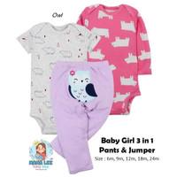 STRIPE PANTS 3 IN 1 / BABY JUMPER / BAJU BAYI / BABY GIFT SET / CARTER - owl, 24m
