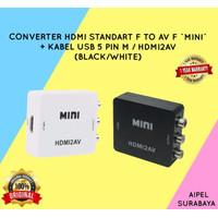 CONVERTER HDMI FEMALE TO AV FEMALE MINI + KABEL USB 5 PIN HDMI2AV