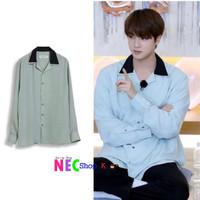 jin bts Point Collar Black Shirt