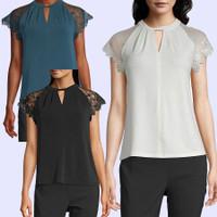 WORTHINGTON 402 KEYHOLE LACESLEEVE Baju Atasan Blouse Wanita Branded