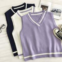 (white & purple ) Knit rajut Adoria Vest korea premium atasan wanita
