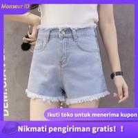 【Kirim Sekarang】Celana pendek denim slim-fit Korea - Light blue, M