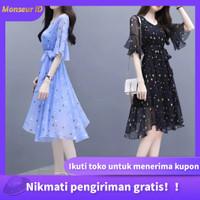 dress Pakaian wanita Korea Kesederhanaan gaun lengan pendek - Hitam
