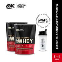 BUNDLE Optimum Nutrition 100% Gold Standard Whey 1Lbs +1 Lbs (2 Lbs ) - Coklat