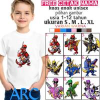 Kaos Power Rangers anak/baju power ranger anak/kaos pilihan gambar