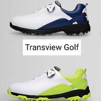 Sepatu Golf Pria PGM shoes putih dasar motif strip biru import