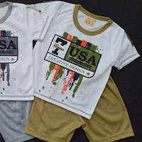 Setelan Oblong Bayi Usia 0-18 BULAN Motif USA - OLIVE