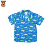 MacBear Baju Anak Laki-laki Kemeja Lebaran Collection Kerah Jas Whale - Biru, SIZE 1