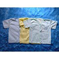 3 BAJU ANAK BAYI WARNA POLOS PENDEK 0-6 BULAN - Biru Muda