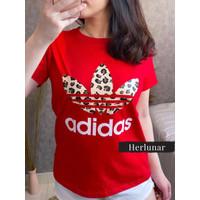 Baju Kaos Wanita Lengan Pendek Kaos Oblong Cewek Ukuran L - Merah, L