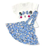 OverAll Dress Anak Perempuan Katun 6-12 Bulan Kitty Face Rok Bunga