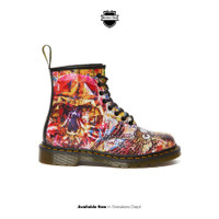 DR MARTENS 1460 CBGB PRINTED LEATHER ANKLE BOOTS