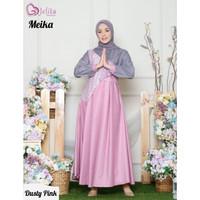 Baju Gamis Setelan Syari Meika Dress Muslimah Wanita Warna Dusty Pink