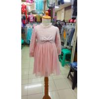 Dress anak cewek /perempuan putih brukat/gaun pesta anak import