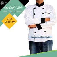 Baju Chef Jacket / Seragam Koki Lengan Panjang Hitam Putih Pria Wanita