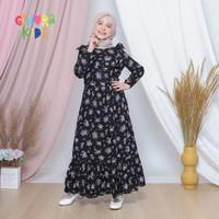 Baju Homedress Anak / Gamis Anak Rayon Motif Bunga Hitam Usia 2 - 10