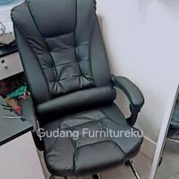 Kursi kantor kulit bangku kerja minimalis ada tatakan kaki