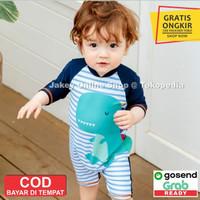 Baju Renang Anak Baby Laki cowok Lengan panjang Swimsuit Dino 3D 2021