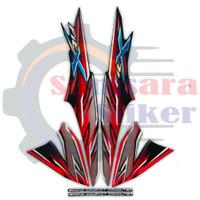 Stiker Striping Motor Honda Supra Fit X 2008 Hitam-Merah