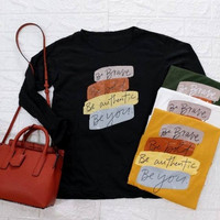 BRAVE Baju Kaos Oversize Wanita/Cewek Lengan Panjang