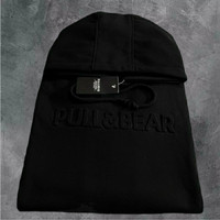 SWEATER HOODIE PULL AND BEAR - EMBOSSED 3D - JAKET PULL & BEAR UNISEX - Hitam, L