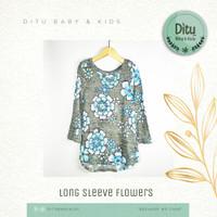 Baju Atasan Anak Perempuan Justice Long Sleeve Flowers 10 Tahun