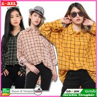 Baju kemeja Wanita atasan Murah L-XXXL COD  Jumbo Panjang Murah 06177 - mustard, L