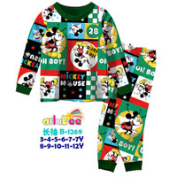 Kinds - Piyama anak laki laki impor Ailubee Mickey Mouse Hijau 4-10Th