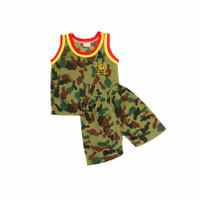 3pcs Setelan Baju Kutung Bayi/Anak Army sz.Kecil/Besar(6bln-3th)