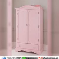 Lemari baju anak perempuan 2 pintu, Almari pakaian laci warna pink