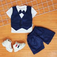 BunBa COD Setelan Baju Bayi Laki laki 0- 12 Bulan Rompi Tuxedo keren