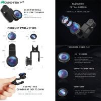Robotsky 3 in 1 Camera Lens Style (Fisheye Wide Macro) - Lebar Jernih