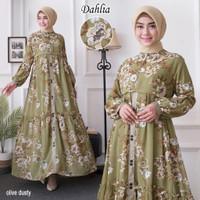 baju muslim terbaru dahlia motif bunga gamis dress fashion syari