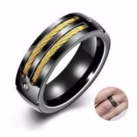 Cincin Titanium list emas hitam Pria cowo Premium